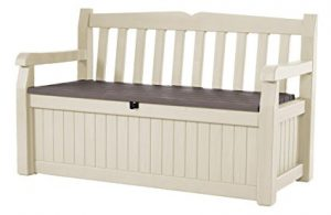 Keter Eden 70 Gal All Weather Outdoor Patio Storage Bench Deck Box, Beige/Brown