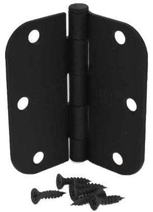 (Pack of 50) 3 1/2 Inch Matte Black Door Hinges
