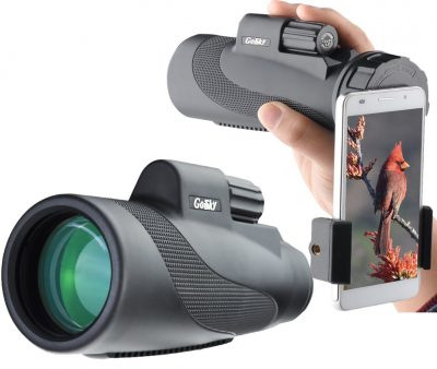 10. Gosky 12X50 Prism Monocular and Quick Smartphone Holder