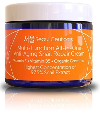 Seoul Ceuticals Korean Skin Cream with 97.5% Snail Mucin Extract – 2 Oz.