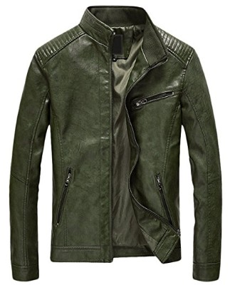 Youhan Casual Zip up Bomber Faux Leather Jacket for Men (Army Green, Small)