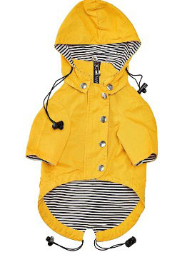Yellow Zip Up Dog Raincoat With Reflective Buttons, Pockets Adjustable Drawstring, & Removable Hoodie