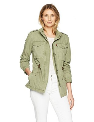 Levi's Parachute Cotton Military Jacket for Women, Light Green