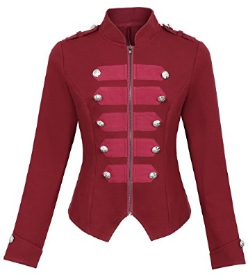 Kate Kasin KK464 Steampunk Gothic Casual Military Jacket, Red