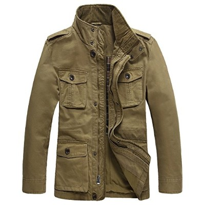 JYG Casual Military Windbreaker Jacket for Men, Cotton Stand Collar