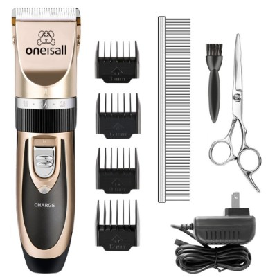 ONEISALL Dog Shaver Cllippers Low noise Rechargeable Cordless Electric Quiet Hair Clippers Set for Dog Cat