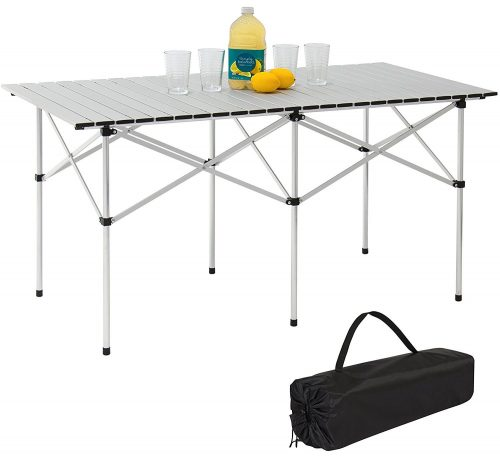 Best Choice Products 55in Portable Roll-Up Aluminum Camping Picnic Table
