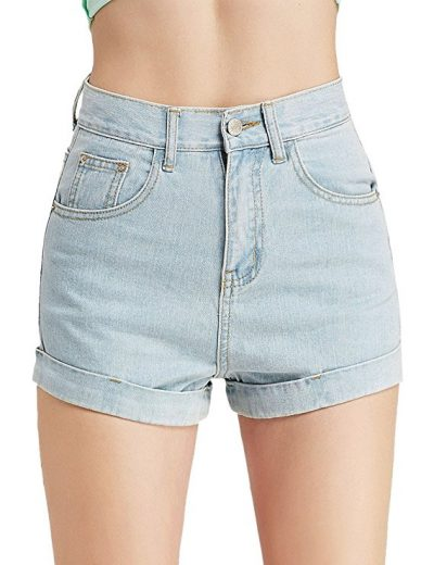 CUNLIN High Waist Shorts Summer Sexy Distressed Folded Hem Denim Jeans