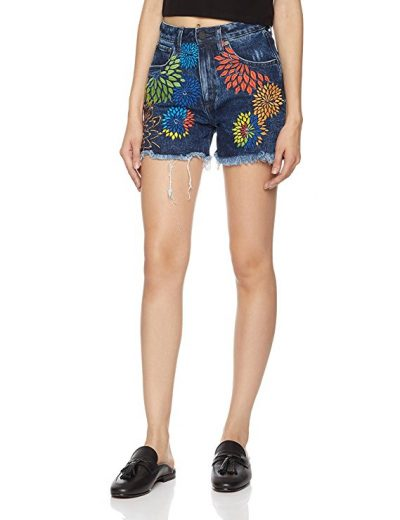 HALE Women's Val Classic High Rise Jean Short With Floral Embroidery