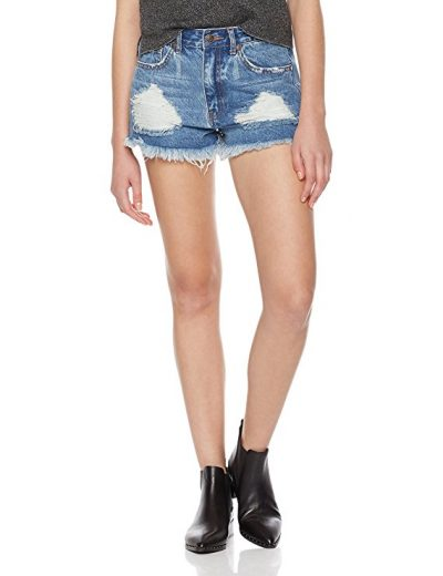 Lily Parker Women's Juniors Casual Distressed Ripped Denim Shorts