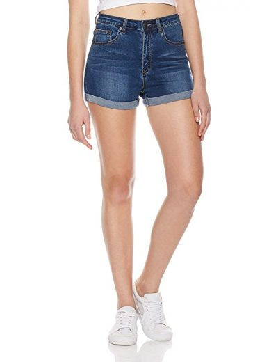 Lily Parker Women's Juniors Classic Stretchy Mid Rise Folded Hem Denim Shorts