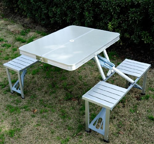 Outsunny Outdoor Aluminum Portable Folding Camp Suitcase Picnic Table