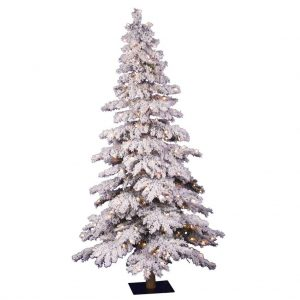 "Vickerman 01563 - 4' x 29"" Flocked Spruce Alpine 150 Clear Lights Christmas Tree"