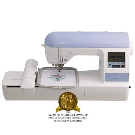 "1. Brother Embroidery Machine, PE770, 5"" x 7"" Embroidery Machine with Built-in Memory, USB Port, 6 Lettering Fonts, 136 Built-in Designs:"