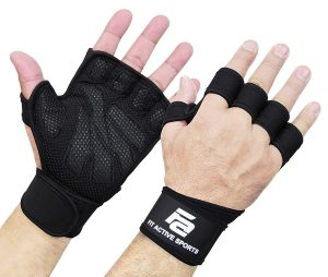 Fit Active Sports Ventilated Weight Lifting Gloves with Built-in Wrist Wraps