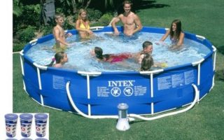 "Intex 12' x 30"" Metal Frame Inflatable Swimming Pools for Adult"