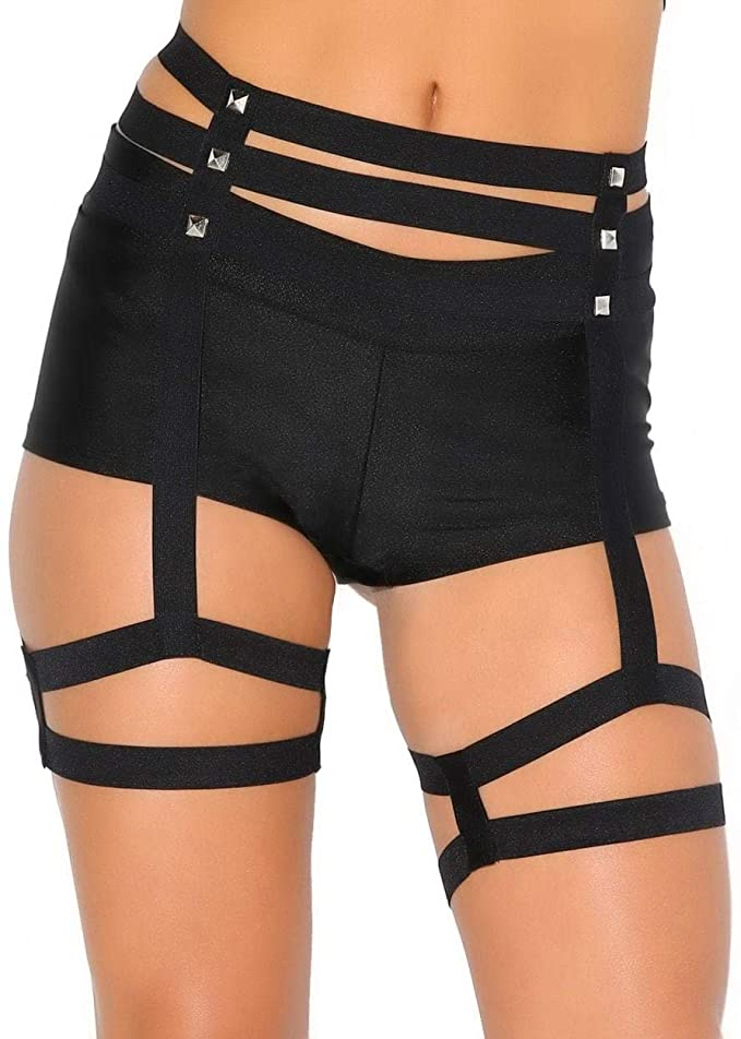 iHeartRaves Women's Strappy Leg Garter Studded Hip Harness